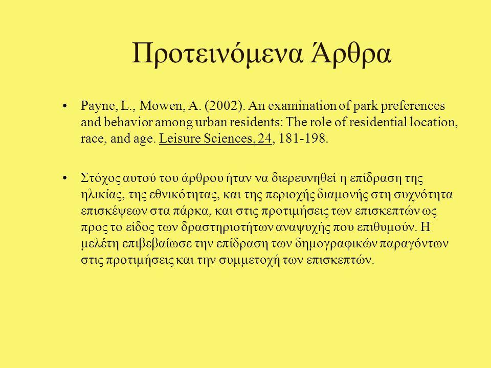Προτεινόμενα Άρθρα Payne, L., Mowen, A. (2002).