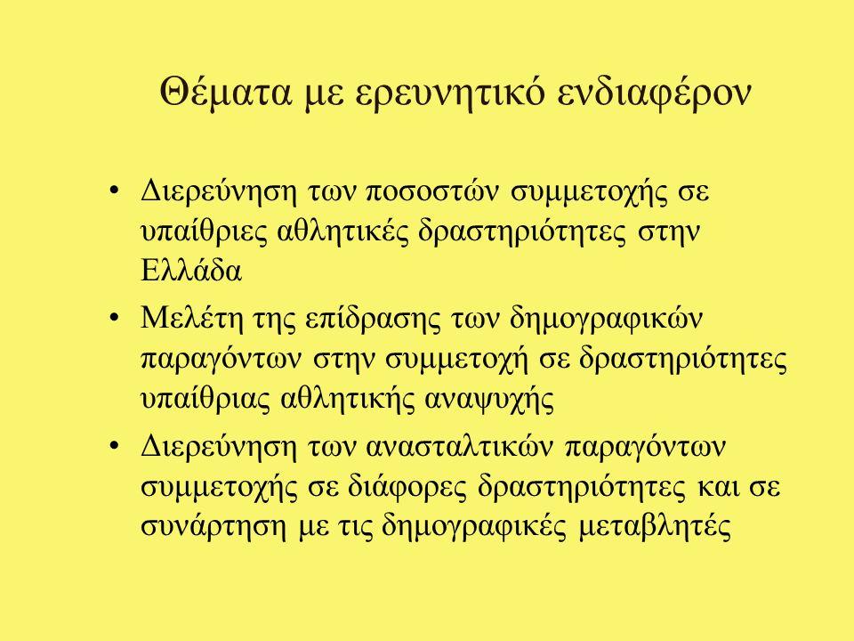Θέματα με ερευνητικό ενδιαφέρον Διερεύνηση των ποσοστών συμμετοχής σε υπαίθριες αθλητικές δραστηριότητες στην Ελλάδα Μελέτη της επίδρασης των δημογραφικών παραγόντων στην συμμετοχή σε δραστηριότητες υπαίθριας αθλητικής αναψυχής Διερεύνηση των ανασταλτικών παραγόντων συμμετοχής σε διάφορες δραστηριότητες και σε συνάρτηση με τις δημογραφικές μεταβλητές