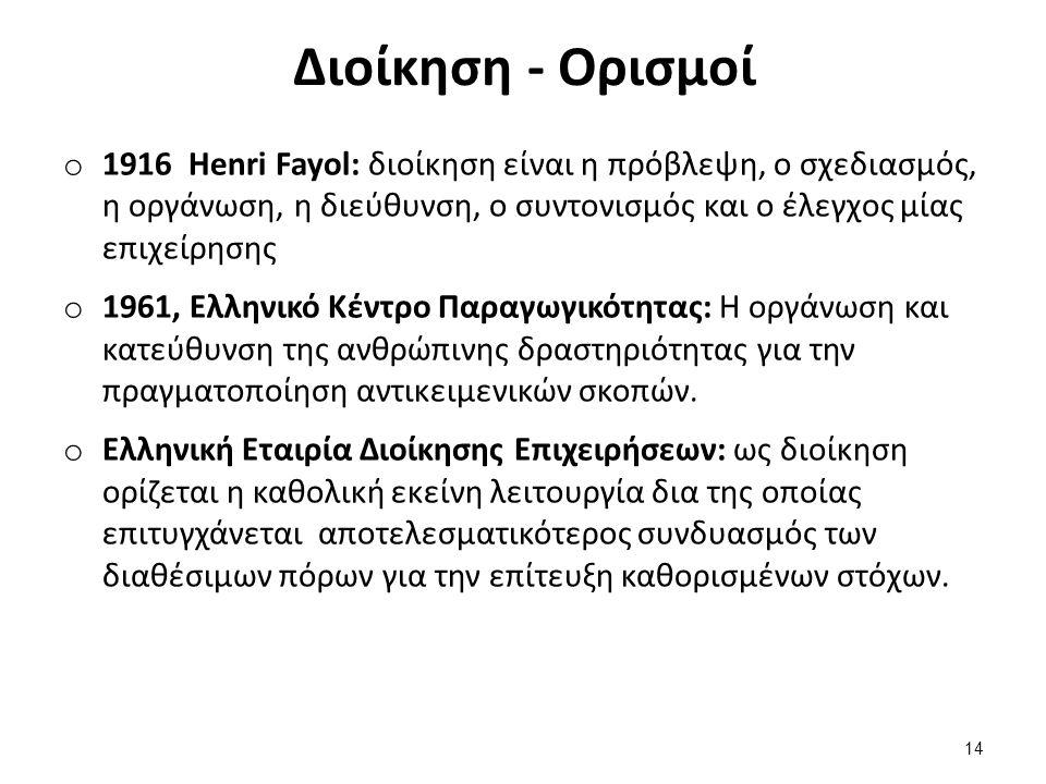 Διοίκηση - Ορισμοί o 1916 Henri Fayol: διοίκηση είναι η πρόβλεψη, ο σχεδιασμός, η οργάνωση, η διεύθυνση, ο συντονισμός και ο έλεγχος μίας επιχείρησης o 1961, Ελληνικό Κέντρο Παραγωγικότητας: Η οργάνωση και κατεύθυνση της ανθρώπινης δραστηριότητας για την πραγματοποίηση αντικειμενικών σκοπών.