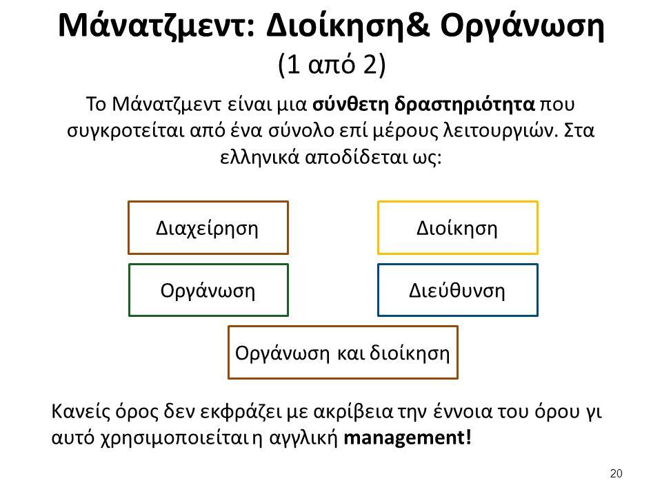Μάνατζμεντ: Διοίκηση& Οργάνωση (1 από 2) Το Μάνατζμεντ είναι μια σύνθετη δραστηριότητα που συγκροτείται από ένα σύνολο επί μέρους λειτουργιών.