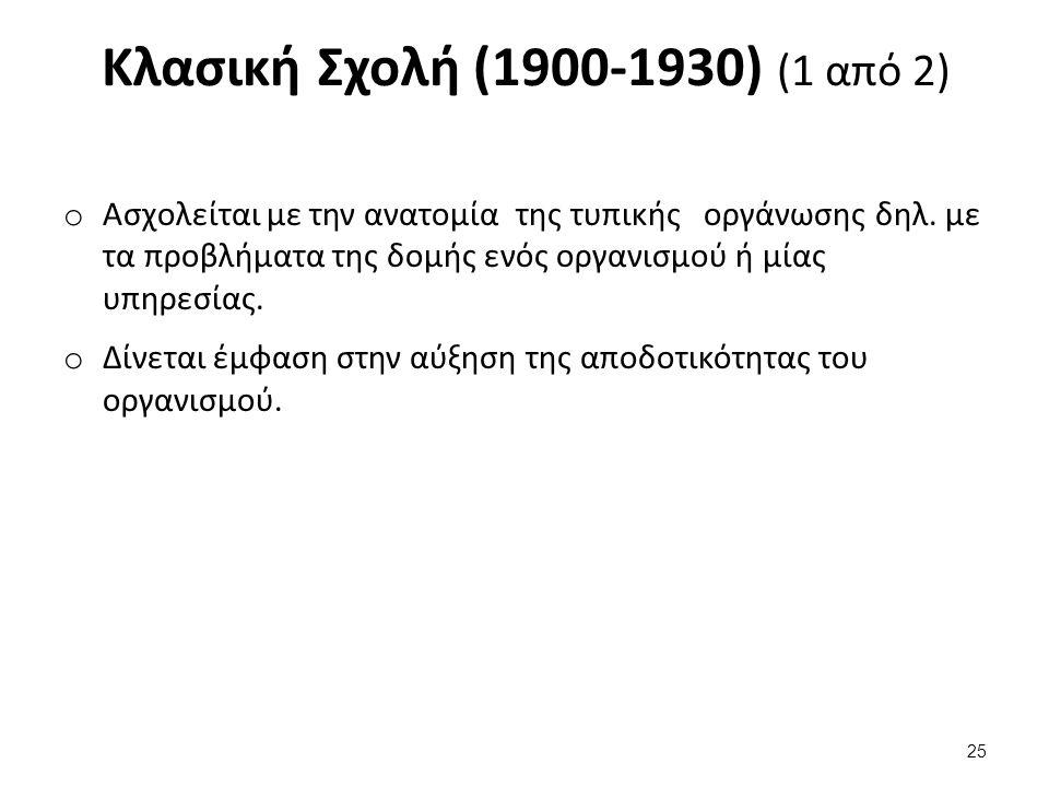 Κλασική Σχολή (1900-1930) (1 από 2) o Ασχολείται με την ανατομία της τυπικής οργάνωσης δηλ.