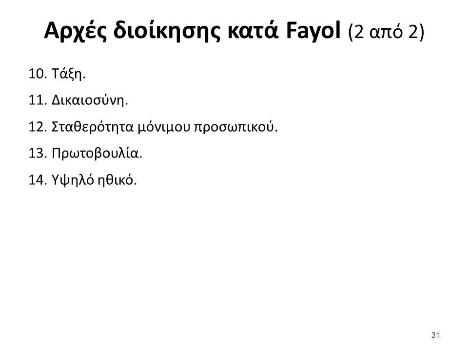 Αρχές διοίκησης κατά Fayol (2 από 2) 10.Τάξη. 11.Δικαιοσύνη.