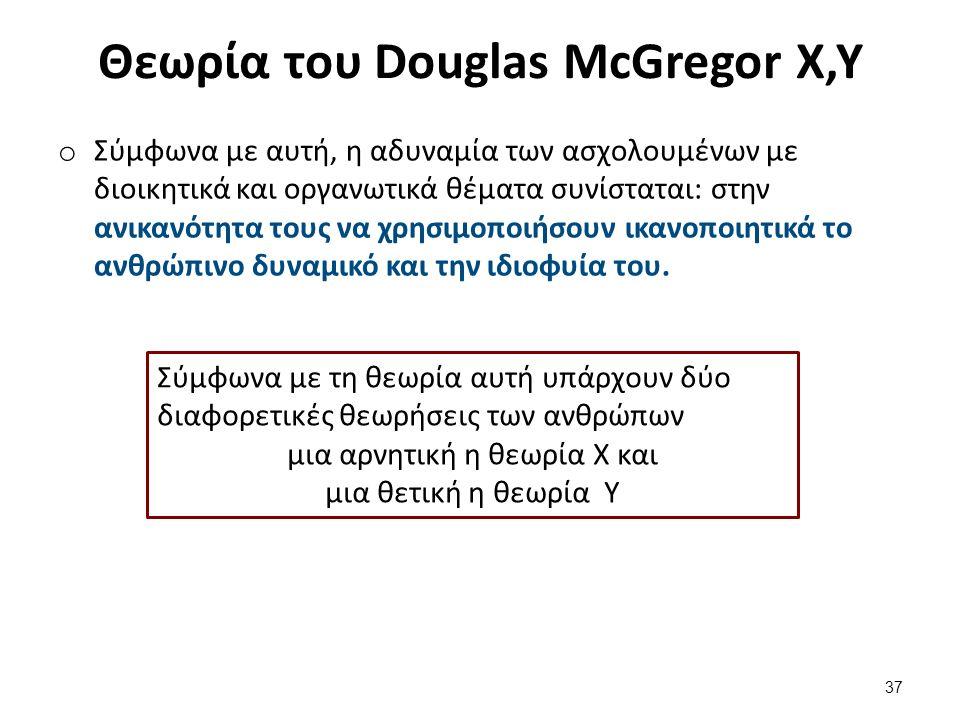 Θεωρία του Douglas McGregor Χ,Υ o Σύμφωνα με αυτή, η αδυναμία των ασχολουμένων με διοικητικά και οργανωτικά θέματα συνίσταται: στην ανικανότητα τους να χρησιμοποιήσουν ικανοποιητικά το ανθρώπινο δυναμικό και την ιδιοφυία του.