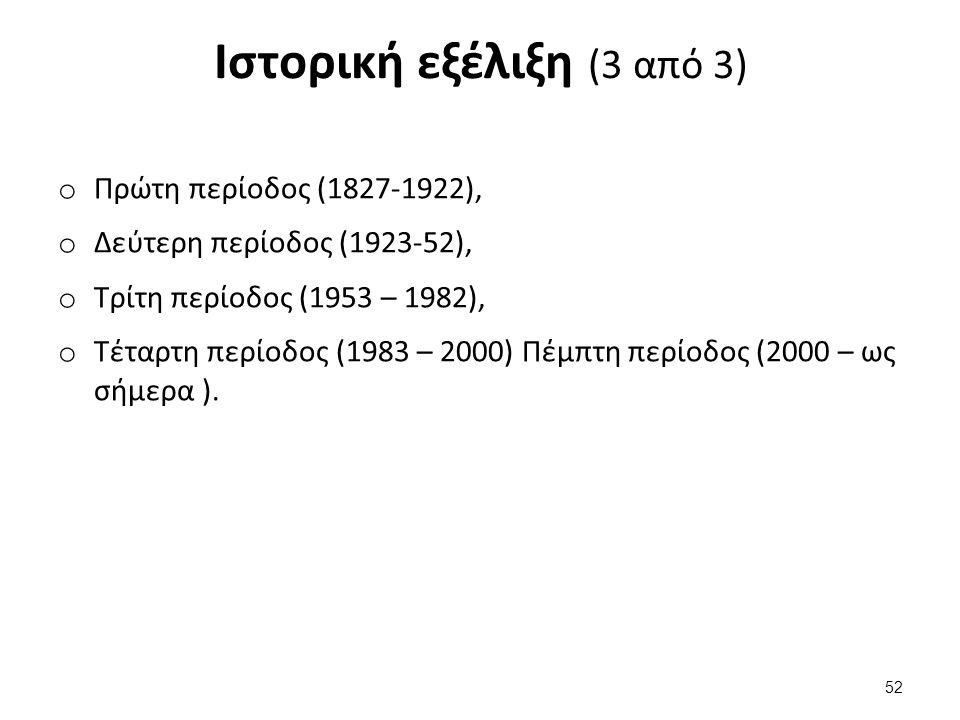 Ιστορική εξέλιξη (3 από 3) o Πρώτη περίοδος (1827-1922), o Δεύτερη περίοδος (1923-52), o Τρίτη περίοδος (1953 – 1982), o Τέταρτη περίοδος (1983 – 2000) Πέμπτη περίοδος (2000 – ως σήμερα ).