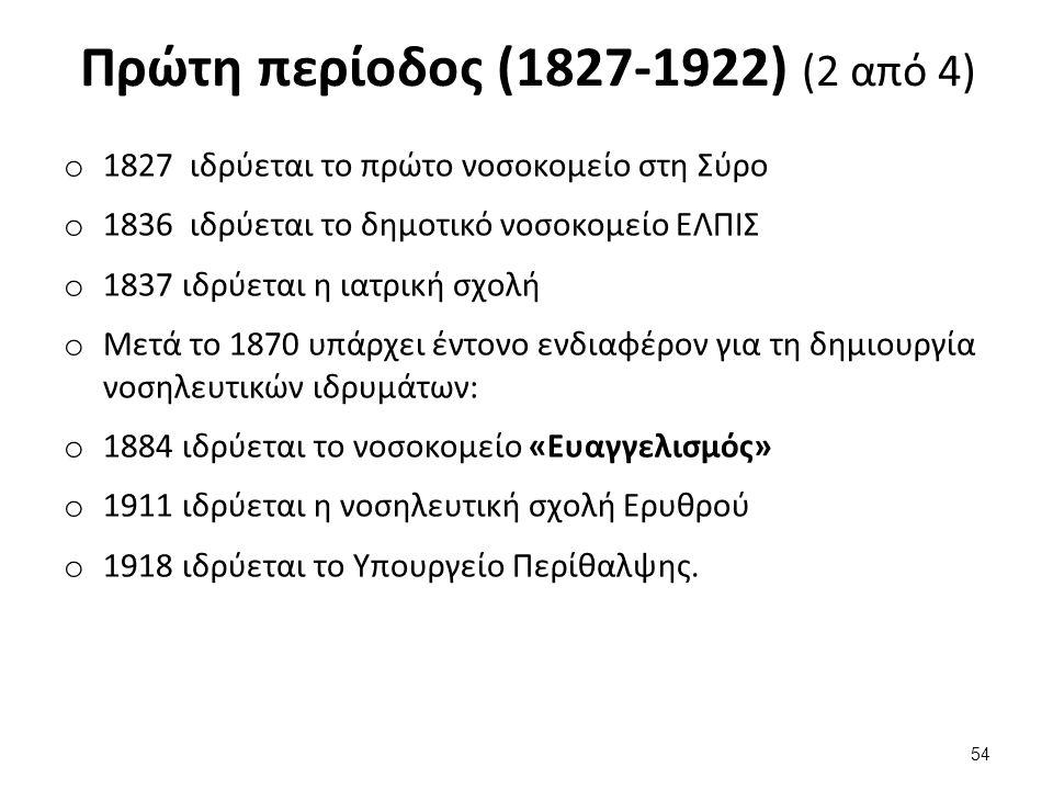 Πρώτη περίοδος (1827-1922) (2 από 4) o 1827 ιδρύεται το πρώτο νοσοκομείο στη Σύρο o 1836 ιδρύεται το δημοτικό νοσοκομείο ΕΛΠΙΣ o 1837 ιδρύεται η ιατρική σχολή o Μετά το 1870 υπάρχει έντονο ενδιαφέρον για τη δημιουργία νοσηλευτικών ιδρυμάτων: o 1884 ιδρύεται το νοσοκομείο «Ευαγγελισμός» o 1911 ιδρύεται η νοσηλευτική σχολή Ερυθρού o 1918 ιδρύεται το Υπουργείο Περίθαλψης.