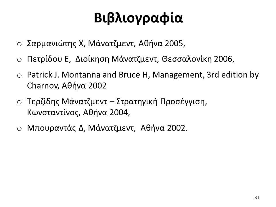 Βιβλιογραφία o Σαρμανιώτης Χ, Μάνατζμεντ, Αθήνα 2005, o Πετρίδου Ε, Διοίκηση Μάνατζμεντ, Θεσσαλονίκη 2006, o Patrick J.