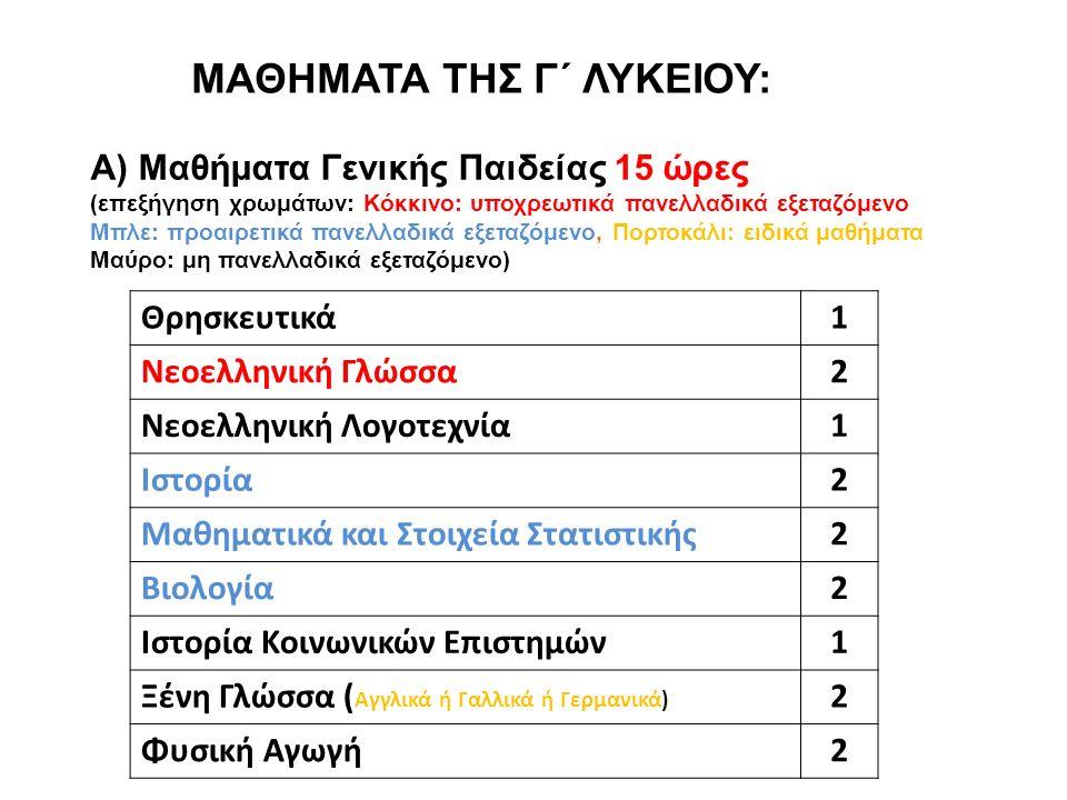 ΜΑΘΗΜΑΤΑ ΤΗΣ Γ΄ ΛΥΚΕΙΟΥ: Α) Μαθήματα Γενικής Παιδείας 15 ώρες (επεξήγηση χρωμάτων: Κόκκινο: υποχρεωτικά πανελλαδικά εξεταζόμενο Μπλε: προαιρετικά πανελλαδικά εξεταζόμενο, Πορτοκάλι: ειδικά μαθήματα Μαύρο: μη πανελλαδικά εξεταζόμενο) Θρησκευτικά 1 Νεοελληνική Γλώσσα 2 Νεοελληνική Λογοτεχνία 1 Ιστορία 2 Μαθηματικά και Στοιχεία Στατιστικής 2 Βιολογία 2 Ιστορία Κοινωνικών Επιστημών 1 Ξένη Γλώσσα ( Αγγλικά ή Γαλλικά ή Γερμανικά) 2 Φυσική Αγωγή 2