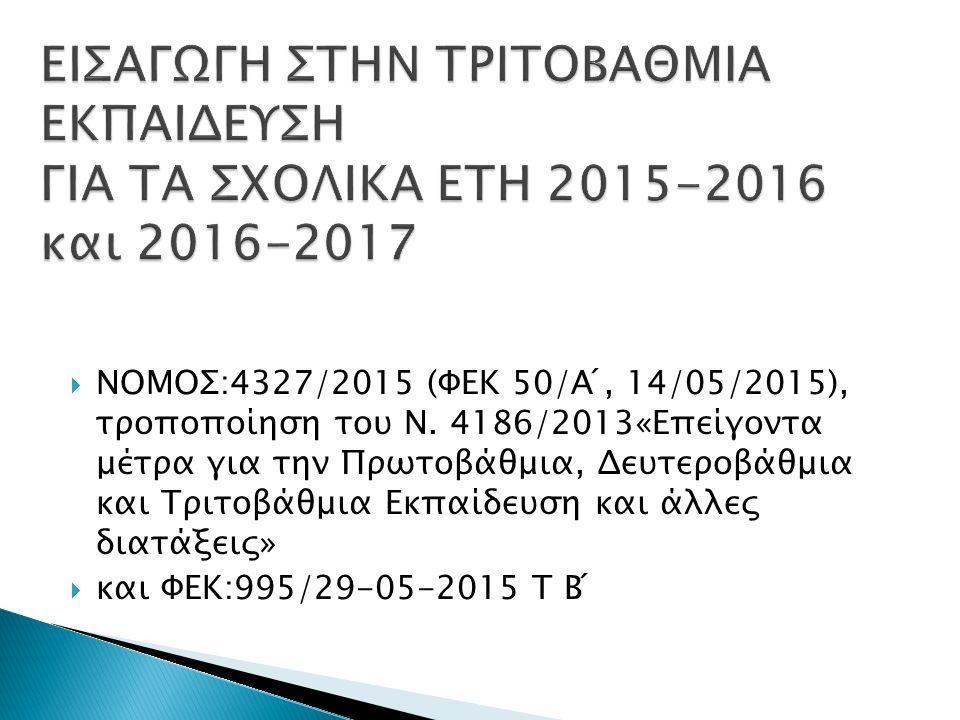  ΝΟΜΟΣ:4327/2015 (ΦΕΚ 50/Α ́, 14/05/2015), τροποποίηση του Ν.