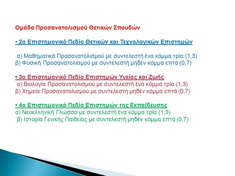 Ομάδα Προσανατολισμού Θετικών Σπουδών 2ο Επιστημονικό Πεδίο Θετικών και Τεχνολογικών Επιστημών α) Μαθηματικά Προσανατολισμού με συντελεστή ένα κόμμα τρία (1,3) β) Φυσική Προσανατολισμού με συντελεστή μηδέν κόμμα επτά (0,7) 3ο Επιστημονικό Πεδίο Επιστημών Υγείας και Ζωής α) Βιολογία Προσανατολισμού με συντελεστή ένα κόμμα τρία (1,3) β) Χημεία Προσανατολισμού με συντελεστή μηδέν κόμμα επτά (0,7) 4ο Επιστημονικό Πεδίο Επιστημών της Εκπαίδευσης α) Νεοελληνική Γλώσσα με συντελεστή ένα κόμμα τρία (1,3) β) Ιστορία Γενικής Παιδείας με συντελεστή μηδέν κόμμα επτά (0,7)
