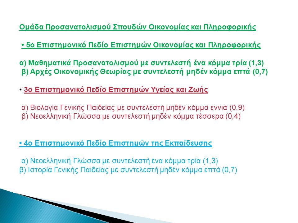 Ομάδα Προσανατολισμού Σπουδών Οικονομίας και Πληροφορικής 5ο Επιστημονικό Πεδίο Επιστημών Οικονομίας και Πληροφορικής α) Μαθηματικά Προσανατολισμού με συντελεστή ένα κόμμα τρία (1,3) β) Αρχές Οικονομικής Θεωρίας με συντελεστή μηδέν κόμμα επτά (0,7) 3ο Επιστημονικό Πεδίο Επιστημών Υγείας και Ζωής α) Βιολογία Γενικής Παιδείας με συντελεστή μηδέν κόμμα εννιά (0,9) β) Νεοελληνική Γλώσσα με συντελεστή μηδέν κόμμα τέσσερα (0,4) 4ο Επιστημονικό Πεδίο Επιστημών της Εκπαίδευσης α) Νεοελληνική Γλώσσα με συντελεστή ένα κόμμα τρία (1,3) β) Ιστορία Γενικής Παιδείας με συντελεστή μηδέν κόμμα επτά (0,7)