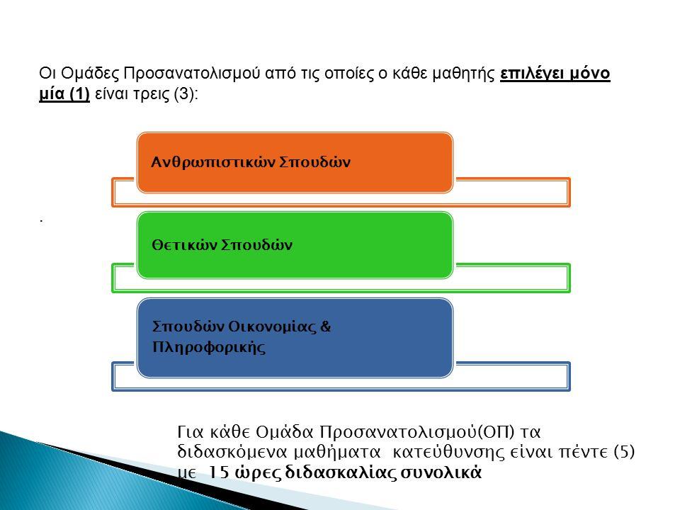 Οι Ομάδες Προσανατολισμού από τις οποίες ο κάθε μαθητής επιλέγει μόνο μία (1) είναι τρεις (3):.