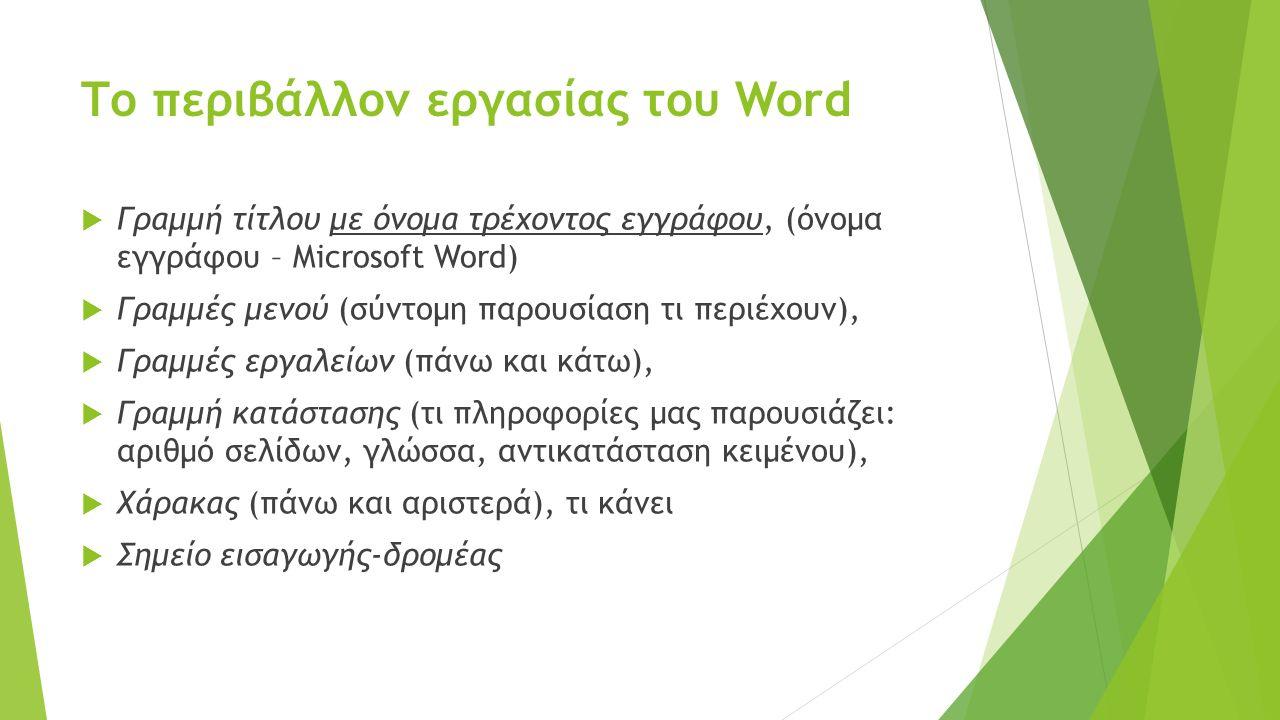 Το περιβάλλον εργασίας του Word  Γραμμή τίτλου με όνομα τρέχοντος εγγράφου, (όνομα εγγράφου – Microsoft Word)  Γραμμές μενού (σύντομη παρουσίαση τι