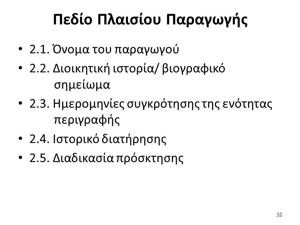 Πεδίο Πλαισίου Παραγωγής 2.1. Όνομα του παραγωγού 2.2. Διοικητική ιστορία/ βιογραφικό σημείωμα 2.3. Ημερομηνίες συγκρότησης της ενότητας περιγραφής 2.