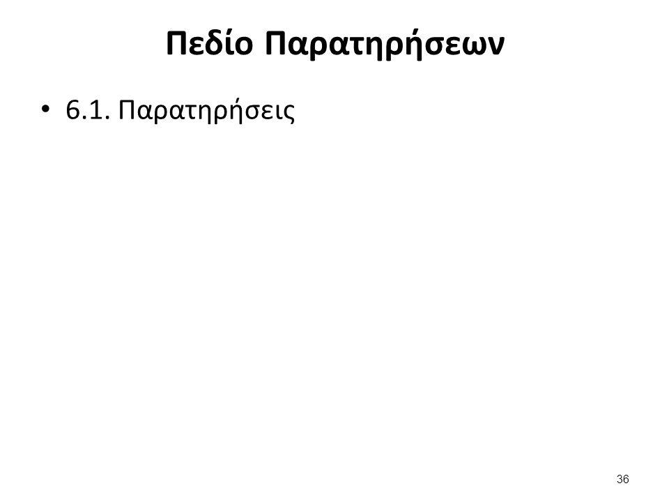 Πεδίο Παρατηρήσεων 6.1. Παρατηρήσεις 36