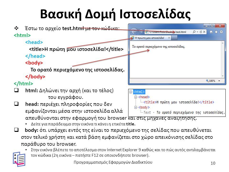 Βασικές Έννοιες Χρήσης Ετικετών  Τα html, head και body χρησιμοποιούνται ΜΟΝΟ μία φορά ανά σελίδα.