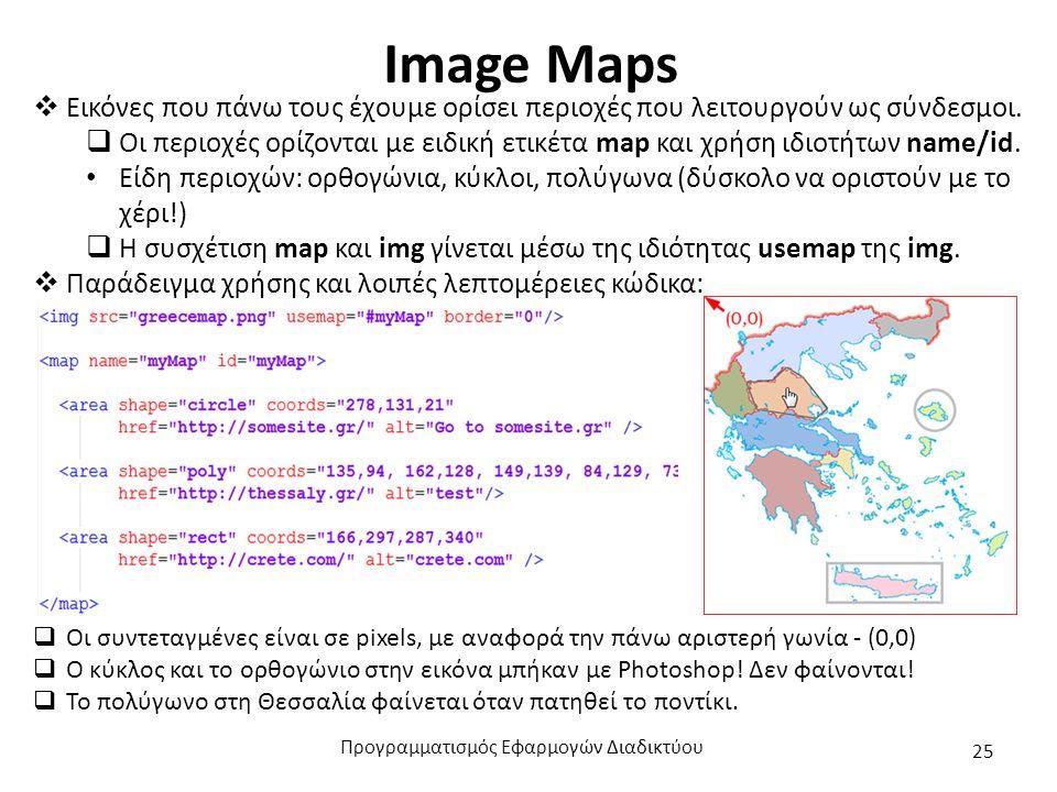 Image Maps  Εικόνες που πάνω τους έχουμε ορίσει περιοχές που λειτουργούν ως σύνδεσμοι.