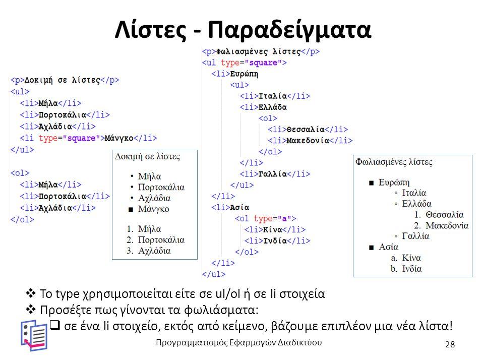 Λίστες - Παραδείγματα  Το type χρησιμοποιείται είτε σε ul/ol ή σε li στοιχεία  Προσέξτε πως γίνονται τα φωλιάσματα:  σε ένα li στοιχείο, εκτός από κείμενο, βάζουμε επιπλέον μια νέα λίστα.