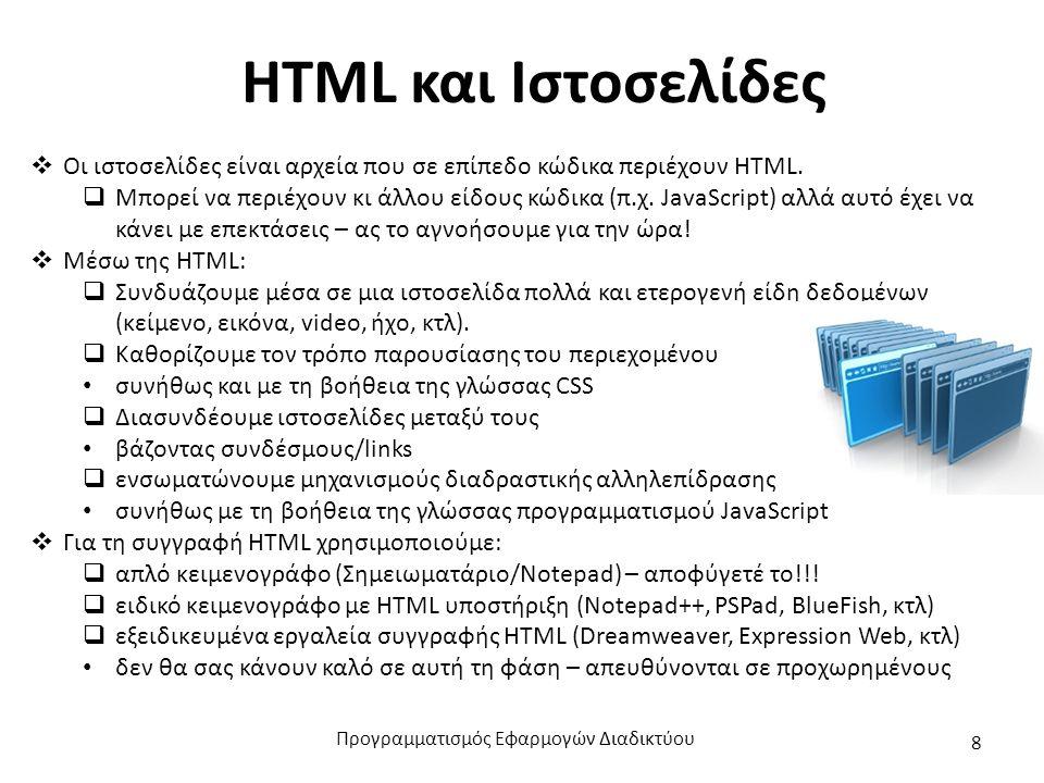 HTML και Ιστοσελίδες  Οι ιστοσελίδες είναι αρχεία που σε επίπεδο κώδικα περιέχουν HTML.