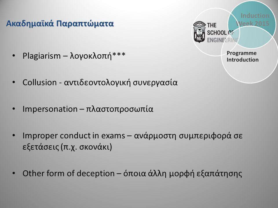 Plagiarism – λογοκλοπή*** Collusion - αντιδεοντολογική συνεργασία Impersonation – πλαστοπροσωπία Improper conduct in exams – ανάρμοστη συμπεριφορά σε εξετάσεις (π.χ.