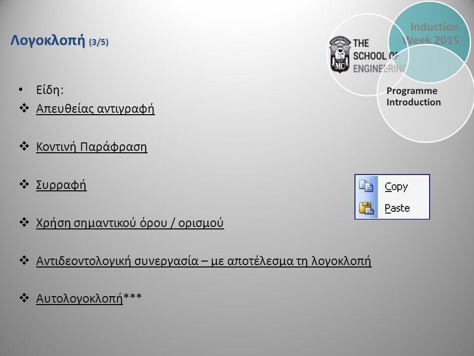 Λογοκλοπή (3/5) Είδη:  Απευθείας αντιγραφή  Κοντινή Παράφραση  Συρραφή  Χρήση σημαντικού όρου / ορισμού  Αντιδεοντολογική συνεργασία – με αποτέλεσμα τη λογοκλοπή  Αυτολογοκλοπή***