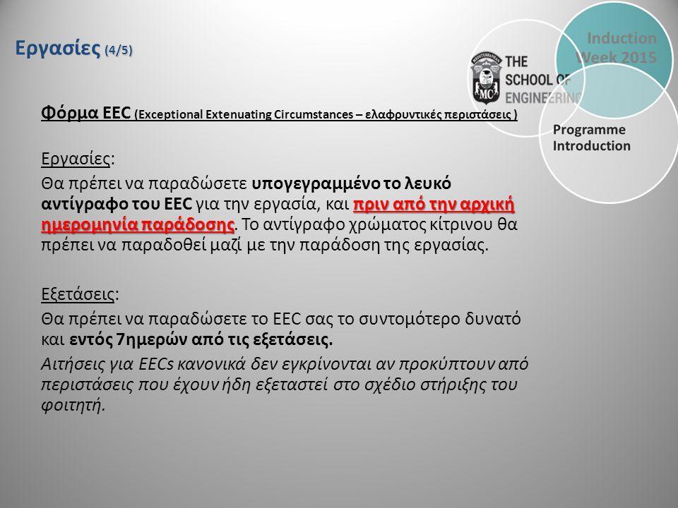 Εργασίες (4/5) Φόρμα EEC (Exceptional Extenuating Circumstances – ελαφρυντικές περιστάσεις ) Εργασίες: πριν από την αρχική ημερομηνία παράδοσης Θα πρέπει να παραδώσετε υπογεγραμμένο το λευκό αντίγραφο του EEC για την εργασία, και πριν από την αρχική ημερομηνία παράδοσης.