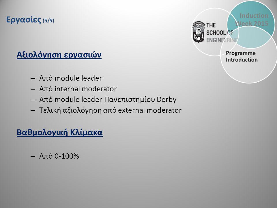 Αξιολόγηση εργασιών – Από module leader – Από internal moderator – Από module leader Πανεπιστημίου Derby – Τελική αξιολόγηση από external moderator Βαθμολογική Κλίμακα – Από 0-100% Εργασίες (5/5)
