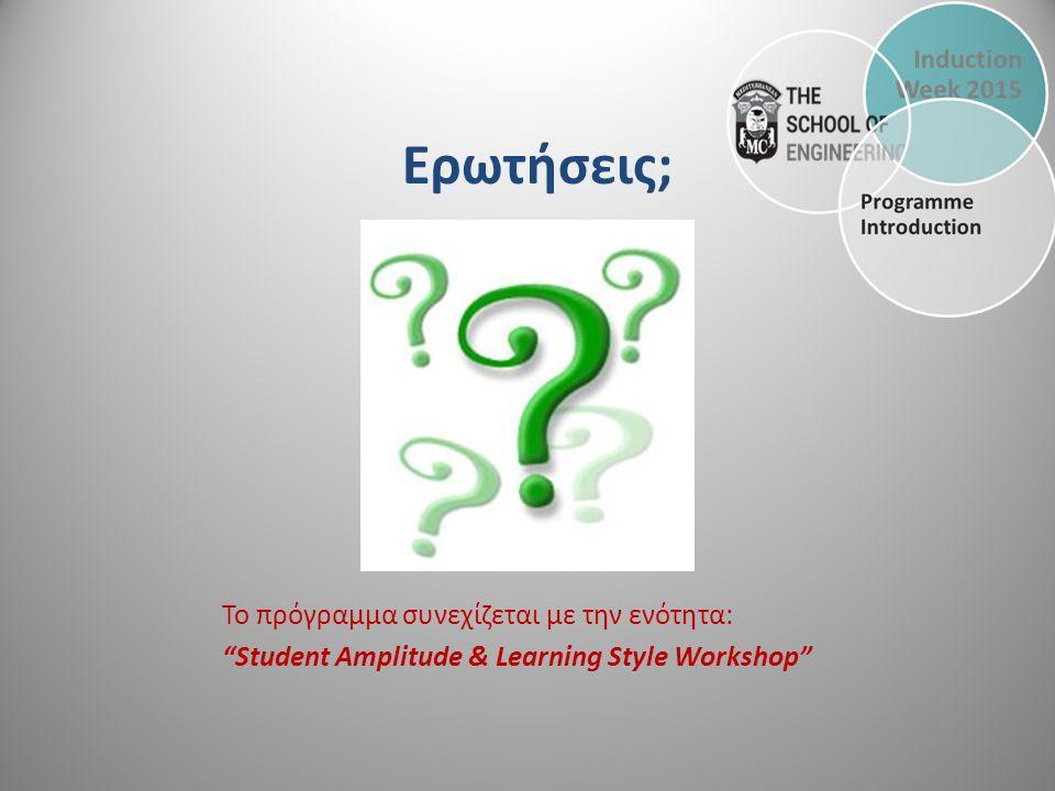 Το πρόγραμμα συνεχίζεται με την ενότητα: Student Amplitude & Learning Style Workshop Ερωτήσεις;