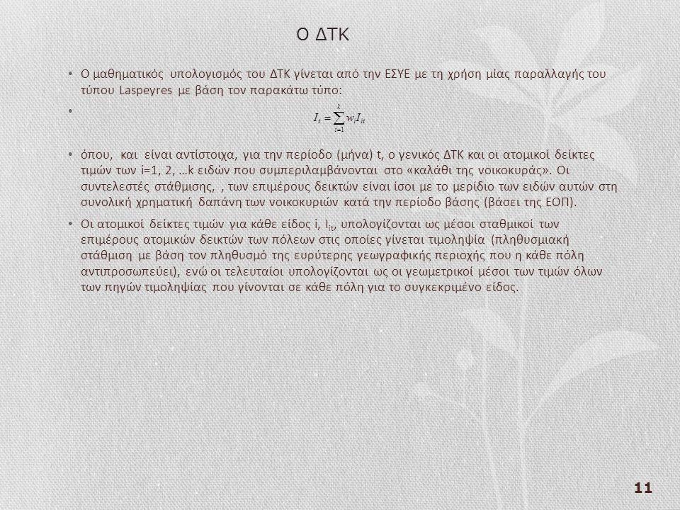 11 Ο μαθηματικός υπολογισμός του ΔΤΚ γίνεται από την ΕΣΥΕ με τη χρήση μίας παραλλαγής του τύπου Laspeyres με βάση τον παρακάτω τύπο: όπου, και είναι αντίστοιχα, για την περίοδο (μήνα) t, ο γενικός ΔΤΚ και οι ατομικοί δείκτες τιμών των i=1, 2, …k ειδών που συμπεριλαμβάνονται στο «καλάθι της νοικοκυράς».