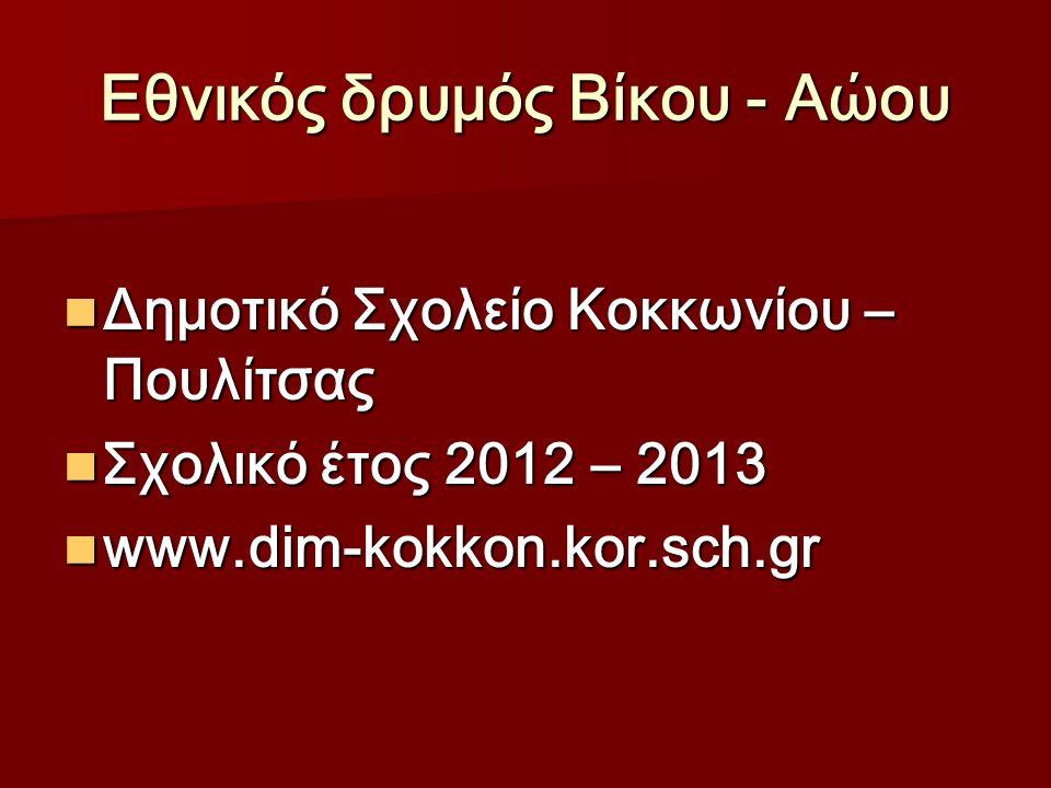 Εθνικός δρυμός Βίκου - Αώου Δημοτικό Σχολείο Κοκκωνίου – Πουλίτσας Δημοτικό Σχολείο Κοκκωνίου – Πουλίτσας Σχολικό έτος 2012 – 2013 Σχολικό έτος 2012 – 2013 www.dim-kokkon.kor.sch.gr www.dim-kokkon.kor.sch.gr