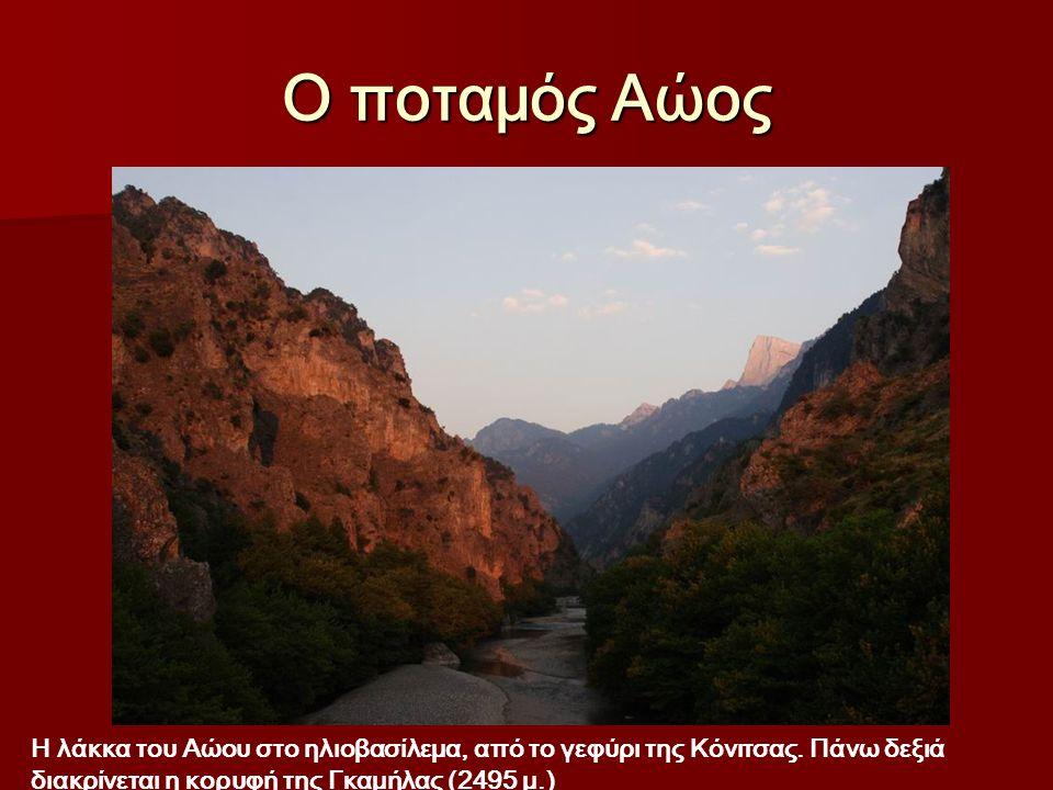 Ο ποταμός Αώος Η λάκκα του Αώου στο ηλιοβασίλεμα, από το γεφύρι της Κόνιτσας.