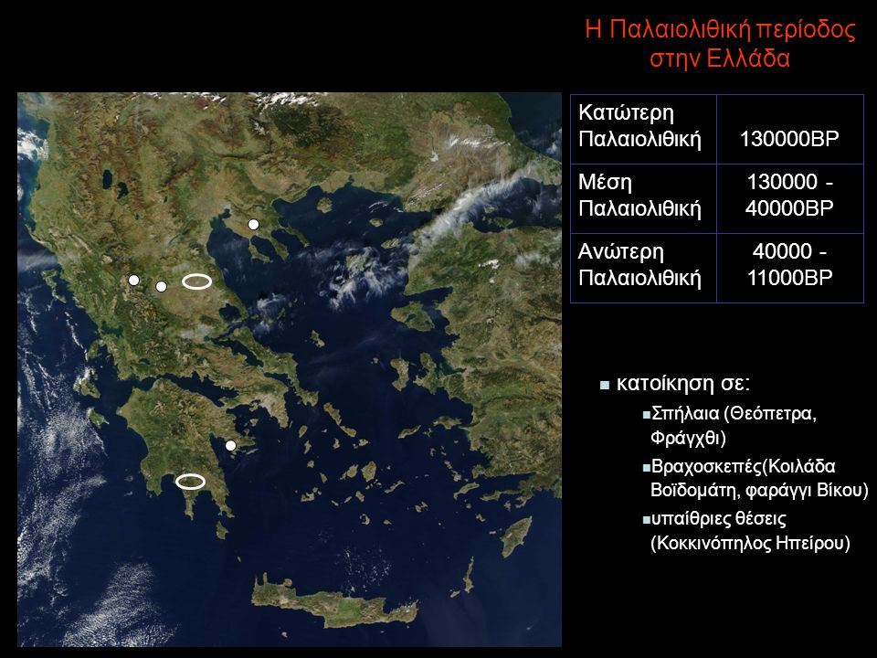 Η Παλαιολιθική περίοδος στην Ελλάδα κατοίκηση σε: Σπήλαια (Θεόπετρα, Φράγχθι) Βραχοσκεπές(Κοιλάδα Βοϊδομάτη, φαράγγι Βίκου) υπαίθριες θέσεις (Κοκκινόπηλος Ηπείρου) 40000 - 11000BP Ανώτερη Παλαιολιθική 130000 - 40000BP Μέση Παλαιολιθική - 130000BP Κατώτερη Παλαιολιθική