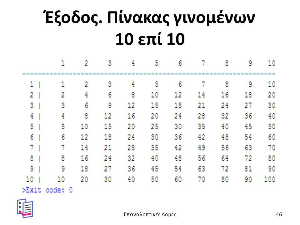Έξοδος. Πίνακας γινομένων 10 επί 10 Επαναληπτικές Δομές46