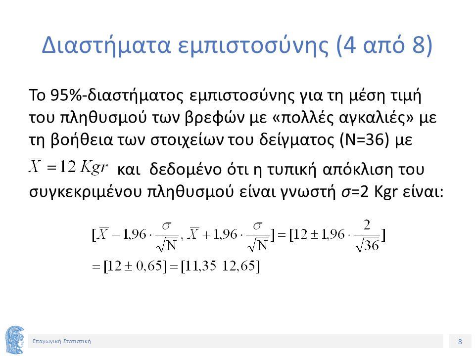 9 Επαγωγική Στατιστική Διαστήματα εμπιστοσύνης (5 από 8) Η τιμή 1,96 είναι η τιμή της τυπική κανονικής κατανομής και θα μπορούσε να είναι μια οποιαδήποτε τιμή Ζ (1-α/2) αυτής της κατανομής που ονομάζεται συντελεστής αξιοπιστίας καθορίζοντας το ποσοστό των 100(1-α)% διαστημάτων της μορφής: που περιέχουν την άγνωστη μέση τιμή μ του πληθυσμού.