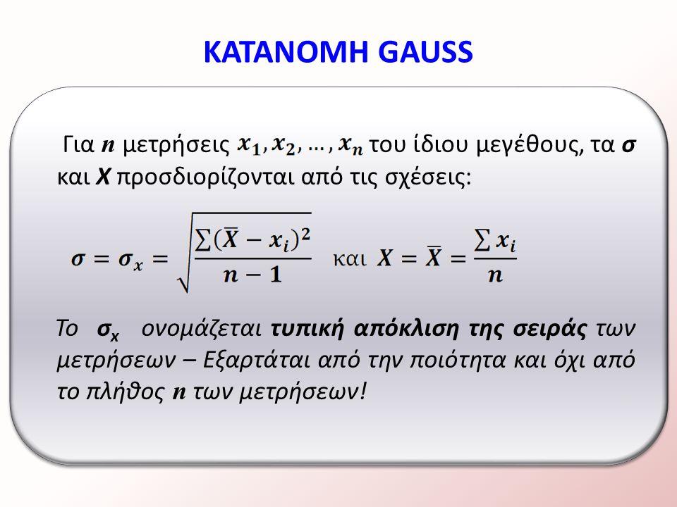 Για n μετρήσεις του ίδιου μεγέθους, τα σ και Χ προσδιορίζονται από τις σχέσεις: Το σ x ονομάζεται τυπική απόκλιση της σειράς των μετρήσεων – Εξαρτάται από την ποιότητα και όχι από το πλήθος n των μετρήσεων.