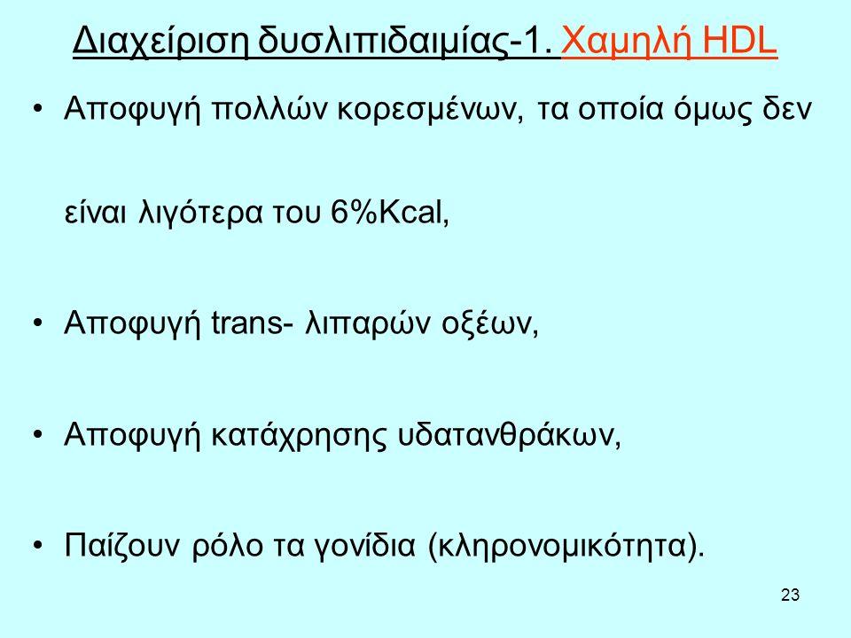 23 Διαχείριση δυσλιπιδαιμίας-1. Χαμηλή HDL Αποφυγή πολλών κορεσμένων, τα οποία όμως δεν είναι λιγότερα του 6%Κcal, Αποφυγή trans- λιπαρών οξέων, Αποφυ