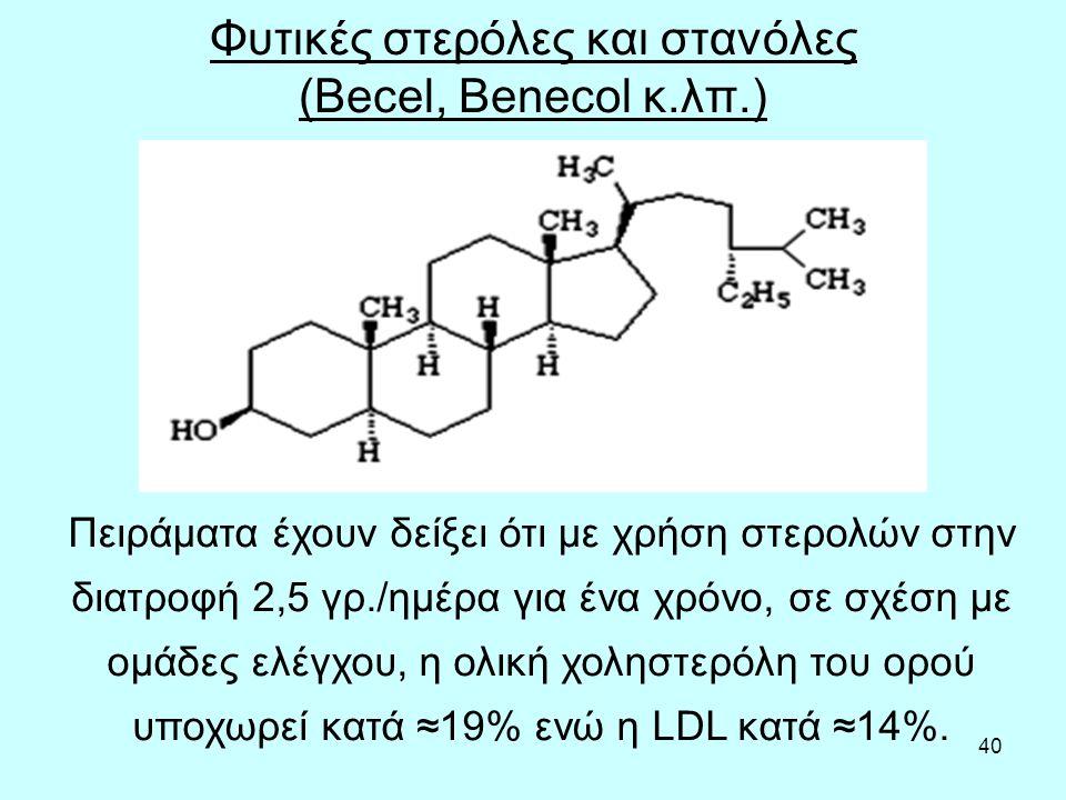 40 Φυτικές στερόλες και στανόλες (Becel, Benecol κ.λπ.) Πειράματα έχουν δείξει ότι με χρήση στερολών στην διατροφή 2,5 γρ./ημέρα για ένα χρόνο, σε σχέση με ομάδες ελέγχου, η ολική χοληστερόλη του ορού υποχωρεί κατά ≈19% ενώ η LDL κατά ≈14%.