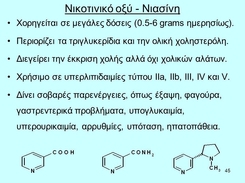 45 Νικοτινικό οξύ - Νιασίνη Χορηγείται σε μεγάλες δόσεις (0.5-6 grams ημερησίως). Περιορίζει τα τριγλυκερίδια και την ολική χοληστερόλη. Διεγείρει την