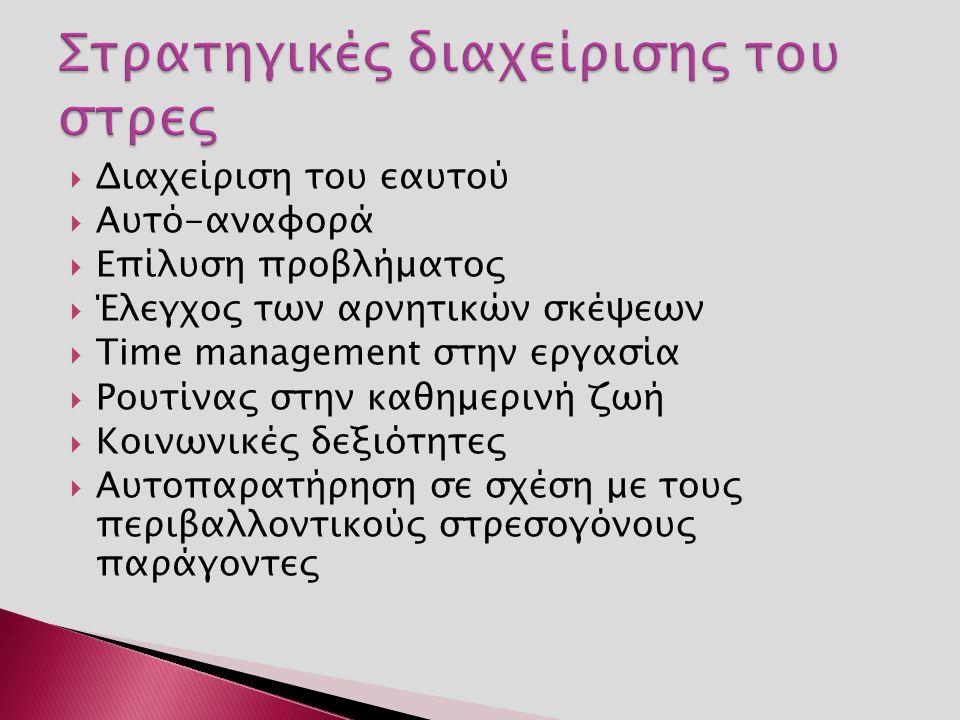  Διαχείριση του εαυτού  Αυτό-αναφορά  Επίλυση προβλήματος  Έλεγχος των αρνητικών σκέψεων  Τime management στην εργασία  Ρουτίνας στην καθημερινή ζωή  Κοινωνικές δεξιότητες  Αυτοπαρατήρηση σε σχέση με τους περιβαλλοντικούς στρεσογόνους παράγοντες