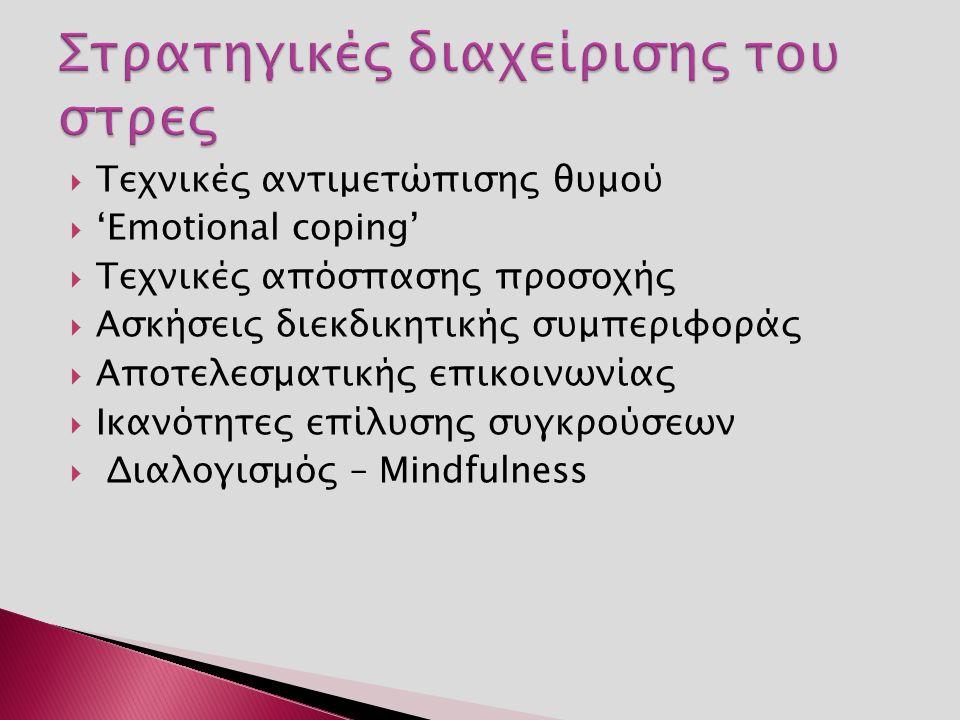  Τεχνικές αντιμετώπισης θυμού  'Εmotional coping'  Τεχνικές απόσπασης προσοχής  Ασκήσεις διεκδικητικής συμπεριφοράς  Αποτελεσματικής επικοινωνίας  Ικανότητες επίλυσης συγκρούσεων  Διαλογισμός – Mindfulness