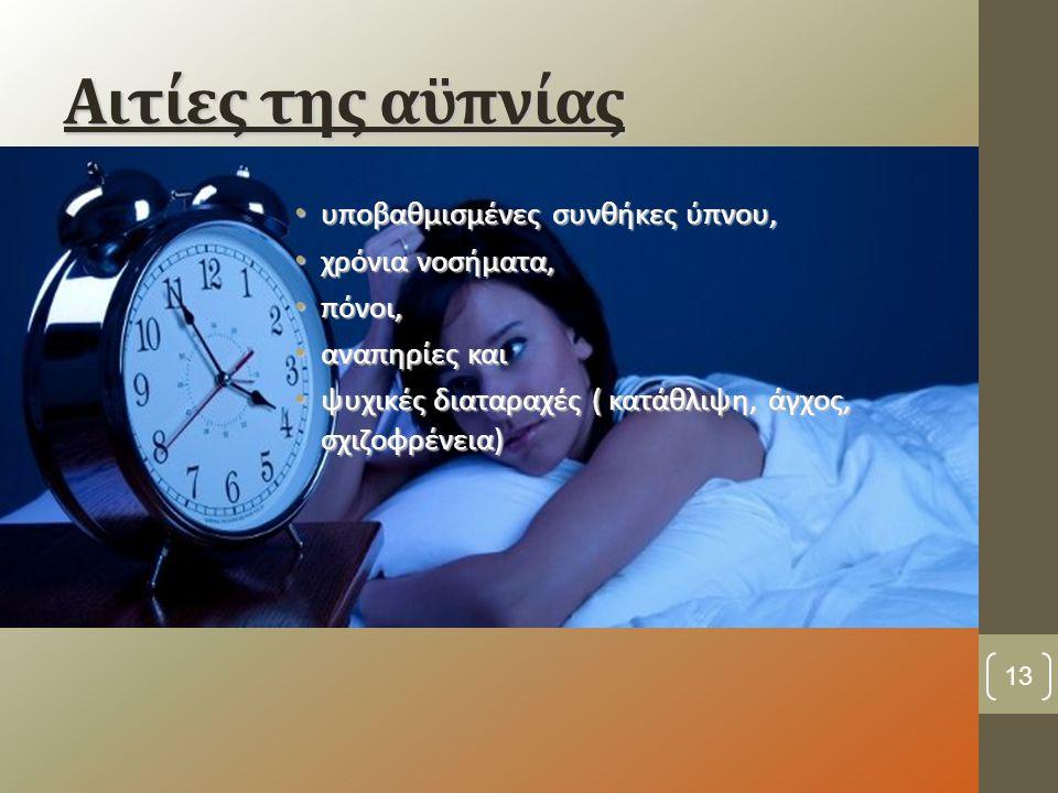 Αιτίες της αϋπνίας υποβαθμισμένες συνθήκες ύπνου, χρόνια νοσήματα, πόνοι, αναπηρίες και ψυχικές διαταραχές ( κατάθλιψη, άγχος, σχιζοφρένεια) 13