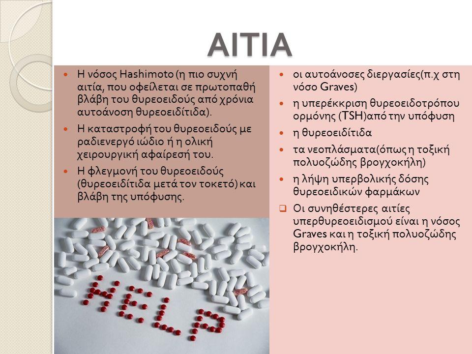 ΑΙΤΙΑ ΑΙΤΙΑ Η νόσος Hashimoto ( η πιο συχνή αιτία, που οφείλεται σε πρωτοπαθή βλάβη του θυρεοειδούς από χρόνια αυτοάνοση θυρεοειδίτιδα ). Η καταστροφή