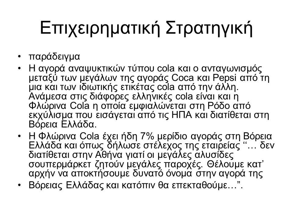 Επιχειρηματική Στρατηγική παράδειγμα Η αγορά αναψυκτικών τύπου cola και ο ανταγωνισμός μεταξύ των μεγάλων της αγοράς Coca και Pepsi από τη μια και των ιδιωτικής ετικέτας cola από την άλλη.