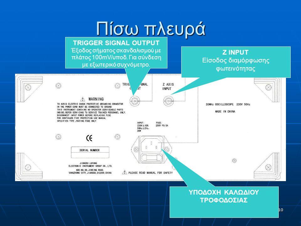10 Πίσω πλευρά Z INPUT Είσοδος διαμόρφωσης φωτεινότητας TRIGGER SIGNAL OUTPUT Έξοδος σήματος σκανδαλισμού με πλάτος 100mV/υποδ. Για σύνδεση με εξωτερι
