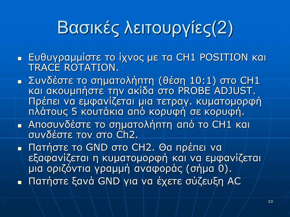 13 Βασικές λειτουργίες(2) Ευθυγραμμίστε το ίχνος με τα CH1 POSITION και TRACE ROTATION. Ευθυγραμμίστε το ίχνος με τα CH1 POSITION και TRACE ROTATION.