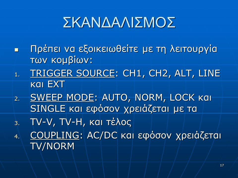 17 ΣΚΑΝΔΑΛΙΣΜΟΣ Πρέπει να εξοικειωθείτε με τη λειτουργία των κομβίων: Πρέπει να εξοικειωθείτε με τη λειτουργία των κομβίων: 1. TRIGGER SOURCE: CH1, CH