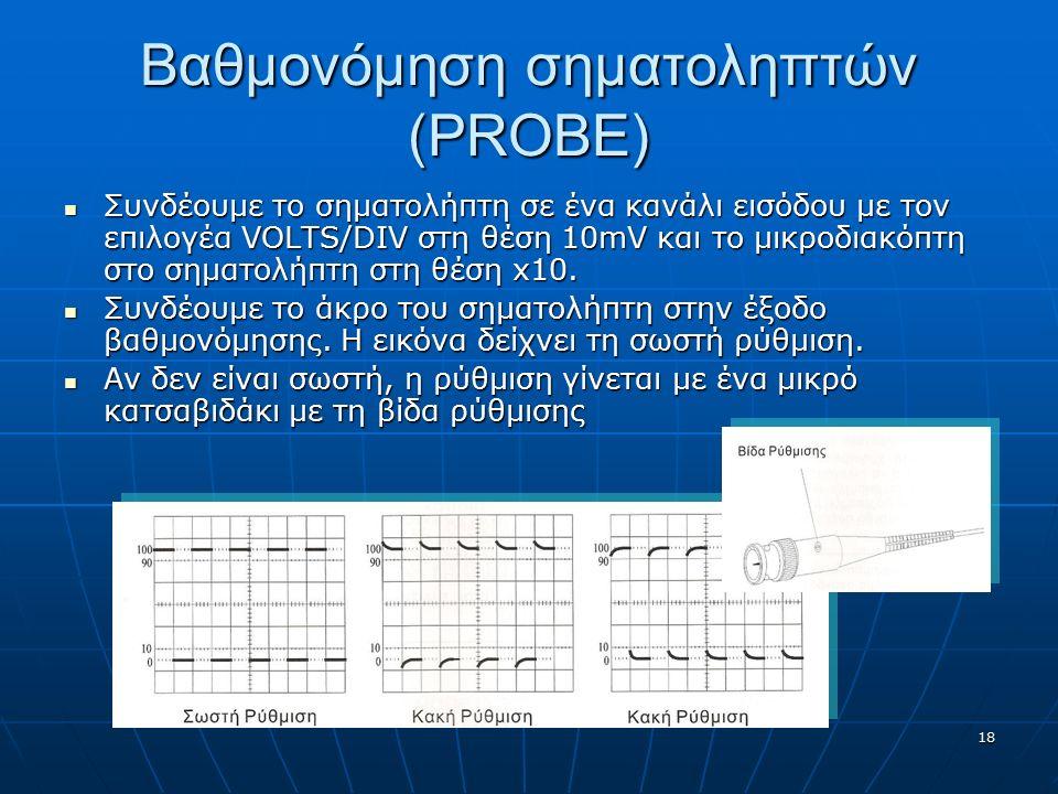 18 Βαθμονόμηση σηματοληπτών (PROBE) Συνδέουμε το σηματολήπτη σε ένα κανάλι εισόδου με τον επιλογέα VOLTS/DIV στη θέση 10mV και το μικροδιακόπτη στο ση