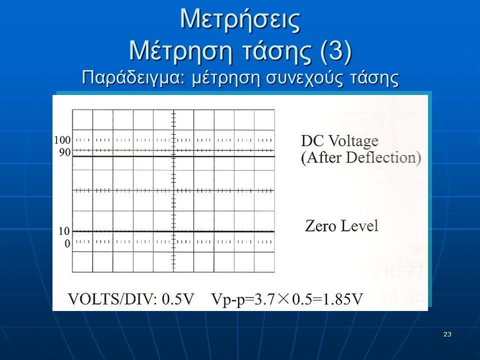 23 Μετρήσεις Μέτρηση τάσης (3) Παράδειγμα: μέτρηση συνεχούς τάσης