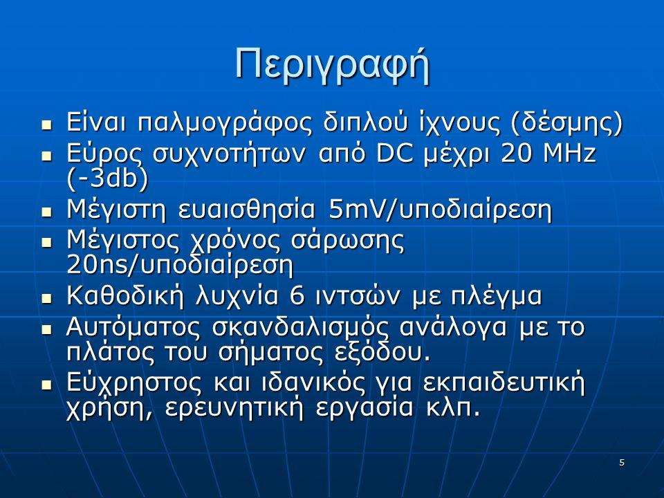 5 Περιγραφή Είναι παλμογράφος διπλού ίχνους (δέσμης) Είναι παλμογράφος διπλού ίχνους (δέσμης) Εύρος συχνοτήτων από DC μέχρι 20 MHz (-3db) Εύρος συχνοτήτων από DC μέχρι 20 MHz (-3db) Μέγιστη ευαισθησία 5mV/υποδιαίρεση Μέγιστη ευαισθησία 5mV/υποδιαίρεση Μέγιστος χρόνος σάρωσης 20ns/υποδιαίρεση Μέγιστος χρόνος σάρωσης 20ns/υποδιαίρεση Καθοδική λυχνία 6 ιντσών με πλέγμα Καθοδική λυχνία 6 ιντσών με πλέγμα Αυτόματος σκανδαλισμός ανάλογα με το πλάτος του σήματος εξόδου.