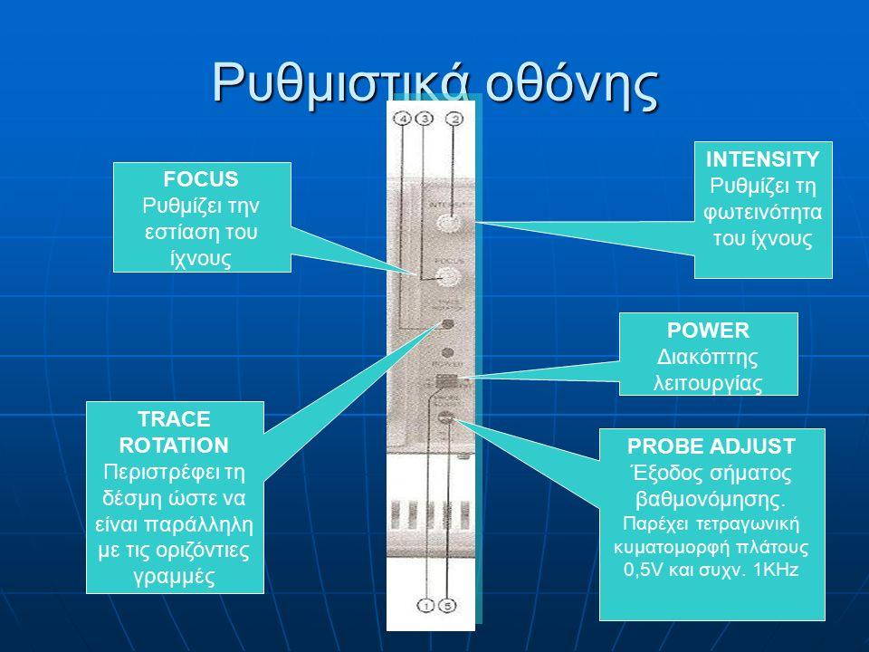 6 Ρυθμιστικά οθόνης POWER Διακόπτης λειτουργίας INTENSITY Ρυθμίζει τη φωτεινότητα του ίχνους FOCUS Ρυθμίζει την εστίαση του ίχνους TRACE ROTATION Περιστρέφει τη δέσμη ώστε να είναι παράλληλη με τις οριζόντιες γραμμές PROBE ADJUST Έξοδος σήματος βαθμονόμησης.