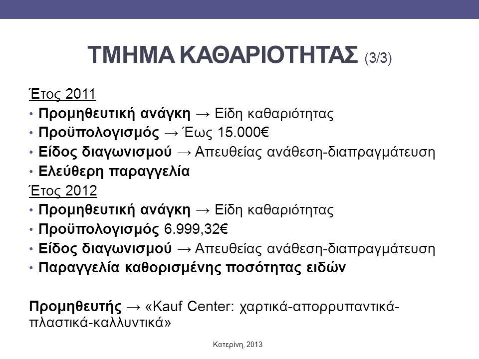 ΤΜΗΜΑ ΚΑΘΑΡΙΟΤΗΤΑΣ (3/3) Έτος 2011 Προμηθευτική ανάγκη → Είδη καθαριότητας Προϋπολογισμός → Έως 15.000€ Είδος διαγωνισμού → Απευθείας ανάθεση-διαπραγμάτευση Ελεύθερη παραγγελία Έτος 2012 Προμηθευτική ανάγκη → Είδη καθαριότητας Προϋπολογισμός 6.999,32€ Είδος διαγωνισμού → Απευθείας ανάθεση-διαπραγμάτευση Παραγγελία καθορισμένης ποσότητας ειδών Προμηθευτής → «Kauf Center: χαρτικά-απορρυπαντικά- πλαστικά-καλλυντικά» Κατερίνη, 2013